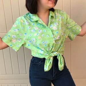 Neon Green Floral Button Up